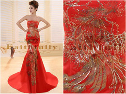 Wholesale Red Floor length Cheongsam Qipao Chinese Dress phoenix Prom Dresses Evening Dress