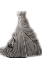 Wholesale 2012 Sexy Strapless Applique Beading Satin Sweep Train Custom Made A Line Wedding Dresses MG022e