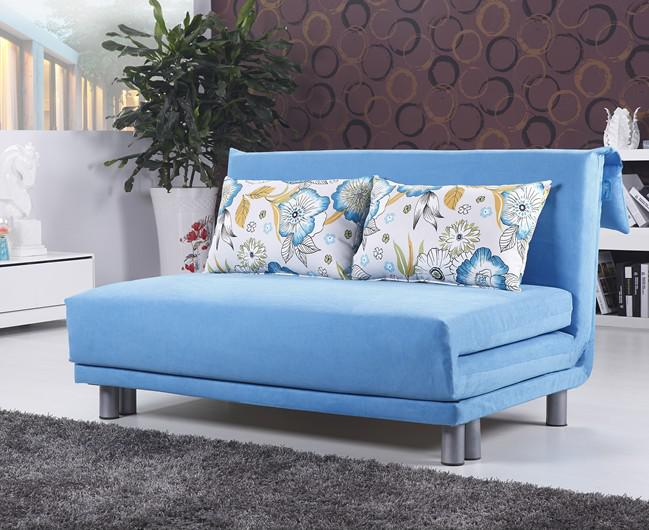 2017 polyester cloth fold sofa bed modern style sky blue for Sofa bed lebanon