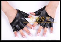 Wholesale Sample Lady Sexy Fingerless Sheep Leather Gloves Half Palm BLK four colours can choose pair