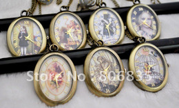 Wholesale egg shape Roman numbers pocket watch necklace fashion jewelry necklace pendant watch n