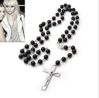Wholesale 20pcs womens mens sterling Silver necklace charm black beads Rosary Necklace Chain Cross Pen