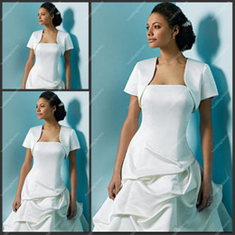 Wholesale Taffeta Short Sleeve White Simple Jackets Inexpensive Bridal Jackets