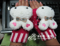 Wholesale 5PCS Korean Winter Fashion Girl Cute Cartoon Fingerless Gloves Wool Thick Double Warm Mittens