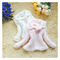 Wholesale Winter girl fake fur lovely cute coat baby toddler outdoor floral lace feather collar clothing