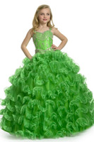 beautiful collars - New Arrival Girl Pageant Dress Beautiful Emerald Green Beading Ball Gown Lovely Flower Girl Dresses FLG005