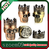 Wholesale New Smoke Smoking Accessory Magnetic Metal Spice King Skull Cigar Cigarette Crusher Grinder