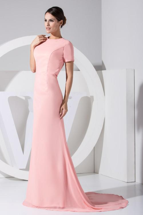 Sexy Long Elegant Short Sleeves Prom Gowns Open Back Evening Dresses ...