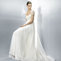 empire waist - 2013 New Design A line Sweetheart Short Sleeves Gathered Lace Bodice Empire Waist Wedding Dress