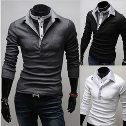 Wholesale New Men s Polo Casual Slim Fit Stylish Hot Dress Shirts Color Black Gray