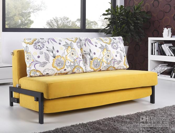 Modern Style Sofa polyester cloth fold sofa-bed modern style yellow ds022b4 free