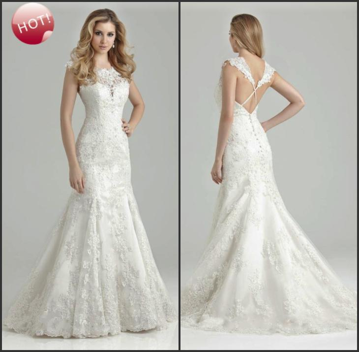 2015 Backless Mermaid Lace Crystals Wedding Dresses Tulle Sweep ...