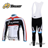 Wholesale CUBE team Ropa Ciclismo Winter Thermal Fleece Cycling bib Kits Long Style Cycling Jersey bib Pants Bike Cycling Clothing