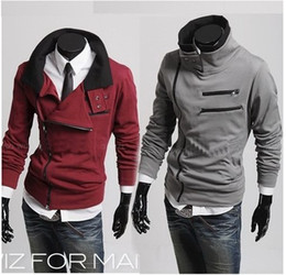 Wholesale monde South Korea Men s zipper Grey Hoodie Rider Jacket Coat Sweat Shirt Size M L XL XXL