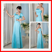 Ruffle  Strapless Sexy Stylish Long Blue Satin Simple Bridesmaid Dresses With Jacket Cheap Free Shipping xyy04-008