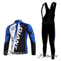 Wholesale 2012NEW blue GIANT Winter Thermal Fleece Long Sleeves Bib Cycling Jersey Cycling Clothes