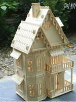 Wholesale wooden dollhouse quot doll wood house rooms kit DIY Model Puzzle