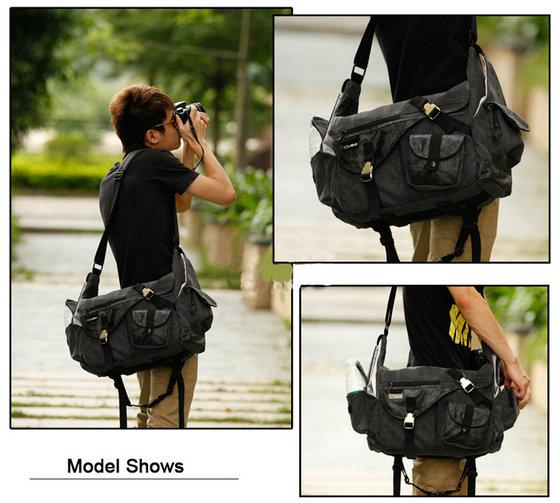 Large DSLR Waterproof Canvas Camera Bag 14'' Laptop Toimend ...