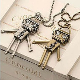 Robot necklace Retro Vintage Music Headset Android Robot Necklaces gold and silver free shipping