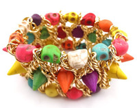 Wholesale Fashiong Punk Style Man Made Colorful Opal Rivet Skull Stretch Bracelet