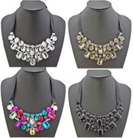 Wholesale New In Pretty Statement Rhinestone Crystal Black Ribbon Tie Bib Collar Necklace mix color