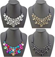 Wholesale New In Pretty Statement Rhinestone Crystal Black Ribbon Tie Bib Collar Necklace mix color