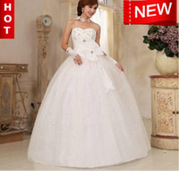 Wholesale WHITE Sleeveless Backless wedding dresses Wedding gown FAST