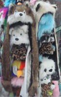 Wholesale Multifunctional Cartoon Animal faux fur hat with scarf gloves Soft Warm winter hats