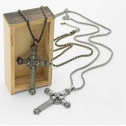 Diamond crown Double Cross Necklace Cross necklace women cross necklaces cross jewelry free shipping