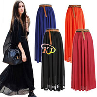 Wholesale S5Q New Women Chiffon pleated Retro Long Elastic Waist Band Maxi Dress Skirt