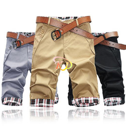 Wholesale S5Q Fashion Men s Causal Fit Cropped Rolled up Cotton Slim Plaid Shorts Pants AAAAWK