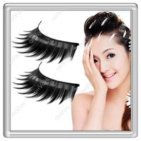 Wholesale S5Q Pairs Natural Long Black Thick Fake False Eye Lashes Eyelashes Makeup Set AAAAMG
