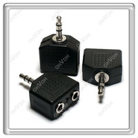 Wholesale S5Q mm stereo Audio Jack to2 Splitter Adapter For PC Headphone Earphone MP4 AAAAOQ