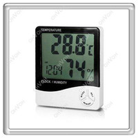 Wholesale S5Q Home Office Digital Thermometer Hygrometer Humidity Meter LED Clock Display AAAAED