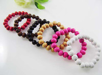 Wholesale Good Wood Charm Bracelet Hip Hop Jewelry Wooden Beads Unisex Colors Mixed Order