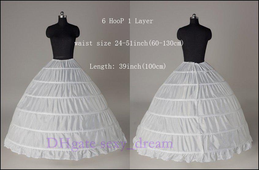New plus size big 6 hoop wedding petticoat bridal slip for Plus size wedding dress petticoat