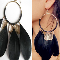 Wholesale S5Q Vintage Charm Handmade Feather Big Round Metal Long Earrings Accessories New AAABAZ