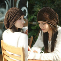 Wholesale 2013 New Year Christmas Gift Womens Beanie Warm Winter Casual Solid Crochet Kintted Hat Caps