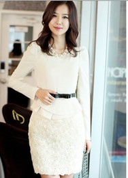 Wholesale Fashion korea OL noble Lady rose flower skirt suit dresses with black belt white color