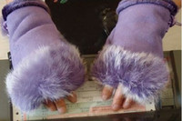 Wholesale Rabbit fur gloves fingerless gloves half fingers gloves winter warmth keyboard gloves