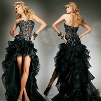 Wholesale See Through Sheer Bodice Black Layeried Organza Front Short Back Long Prom Dress