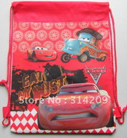 Wholesale Mixed The Cars Designs Non woven Material Kids Children Cute Cartoon Drawstring Backpack Bag Shoes