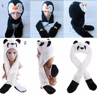 Wholesale Fashion High quality Multifunctional Cartoon Animal hat cute penguin and panda Plush Soft Warm Cap