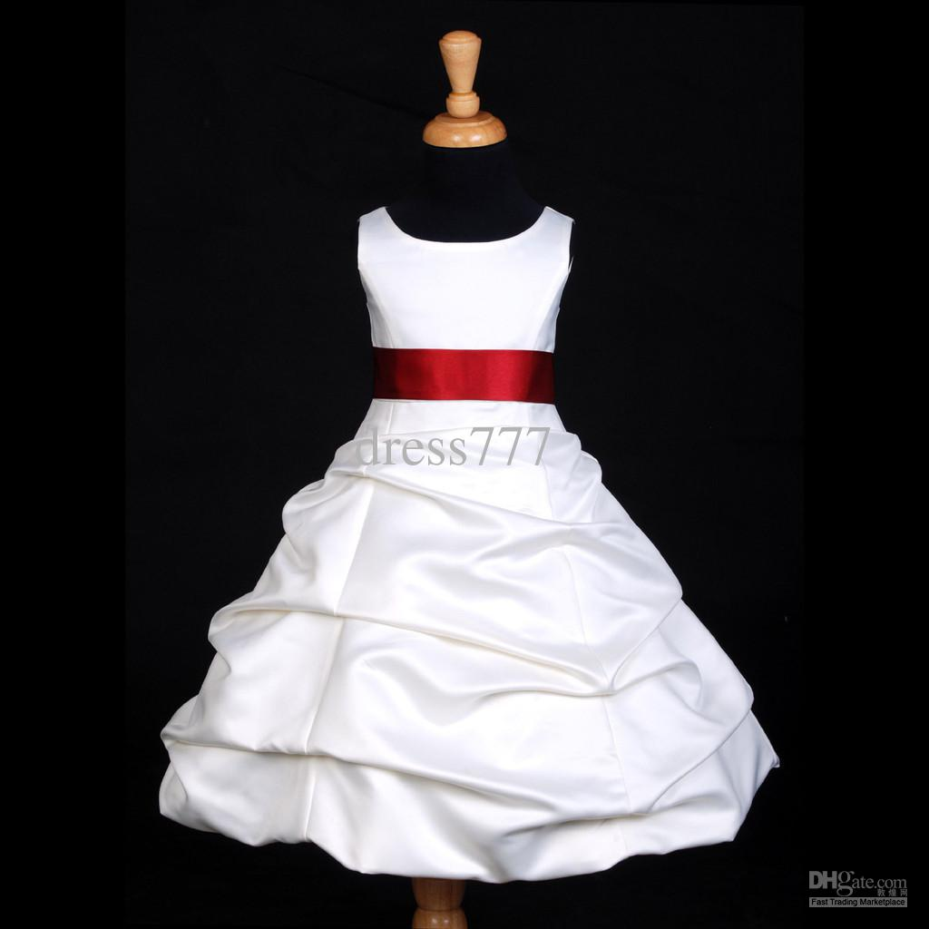 Red And White Flower Girl Dresses Beatific Bride