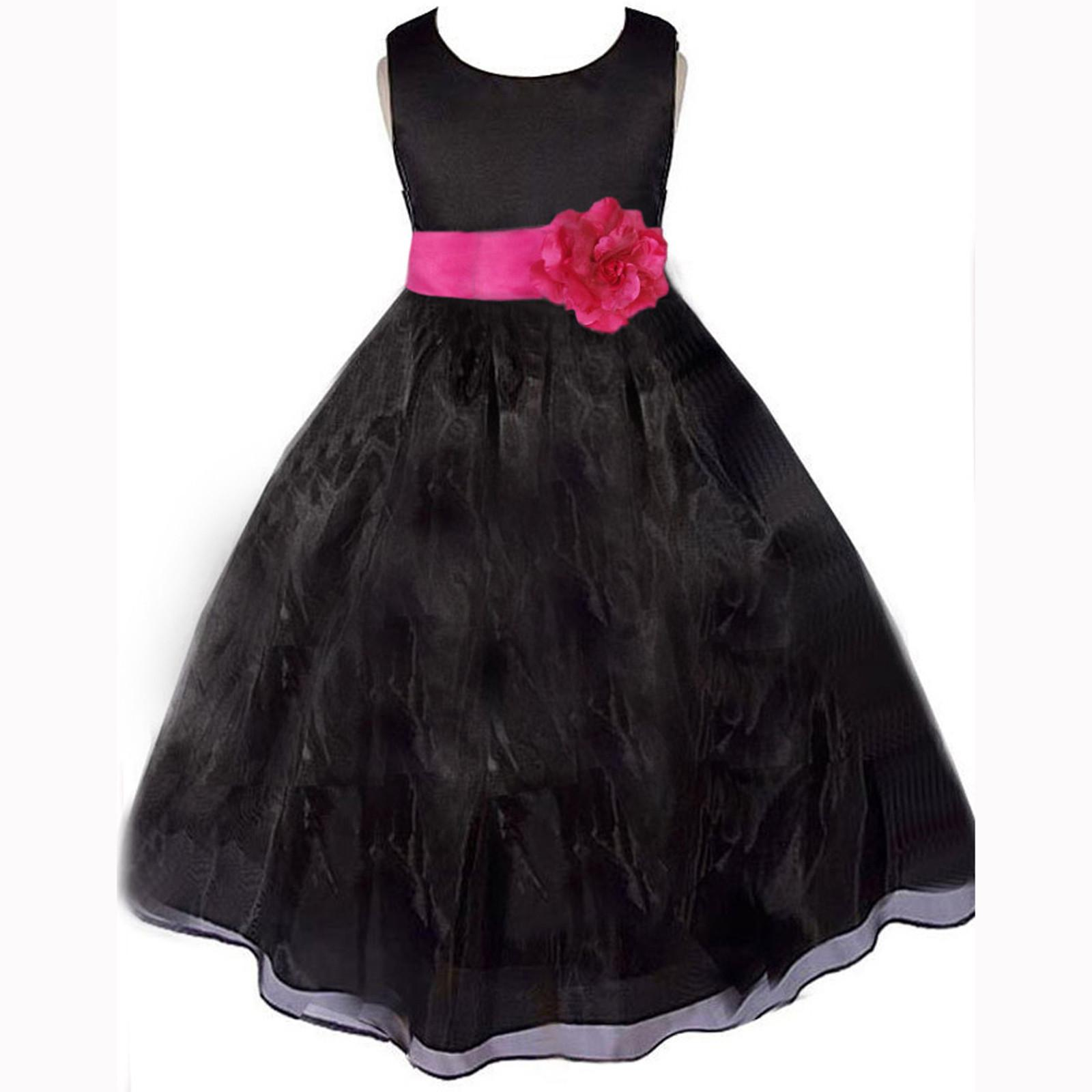 Black And Pink Flower Girl Dresses