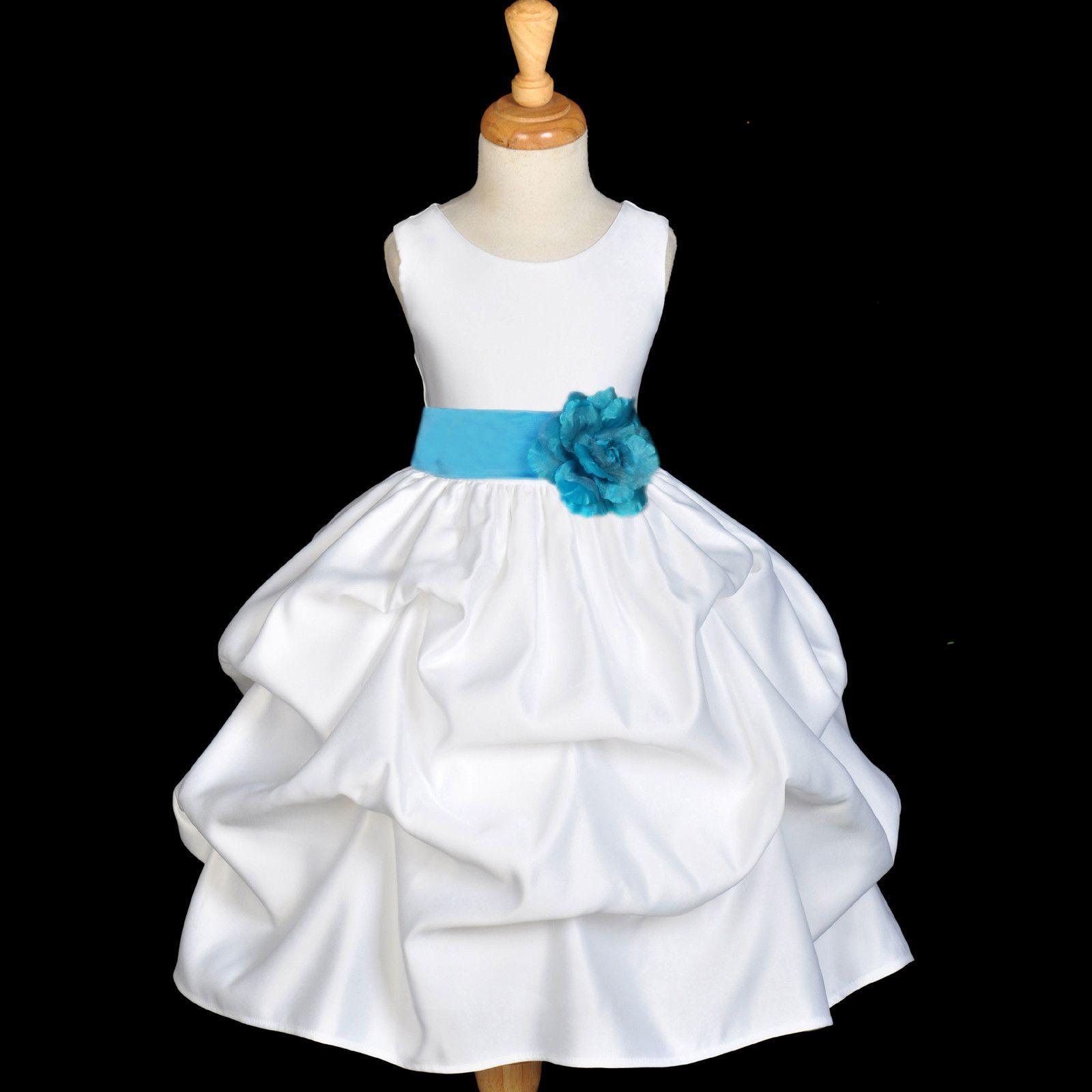 Baby Blue And White Flower Girl Dresses 54