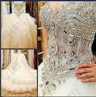 Wholesale 2016 Luxury crystals Beaded Organza Empire Ball Gowns Sweetheart Neckline bride dress wedding Dress Eveing Cathedral Train