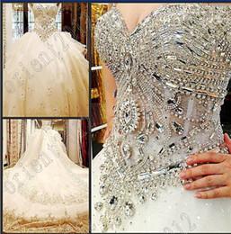 Cristales de lujo con cuentas Organza Imperio Vestidos de Boda Vestido de novia vestido de novia vestido de novia Eveing Catedral tren