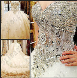 Wholesale Lace Empire Neckline Wedding Dress - 2016 Luxury crystals Beaded Organza Empire Ball Gowns Sweetheart Neckline bride dress wedding Dress Eveing Cathedral Train