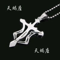 Wholesale Twelve constellation series SCORPIO stainless steel men women s lovers necklace L pendant